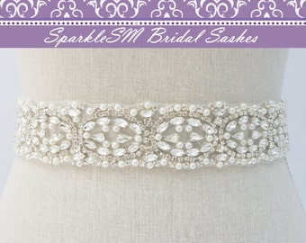 Pearl Bridal Sash, Bridal Belt, Swarovski Sash, Jeweled Bridal Belt, Rhinestone Sash, Bridesmaids Sashes, Crystal Bridal Belt, Pearl Sash