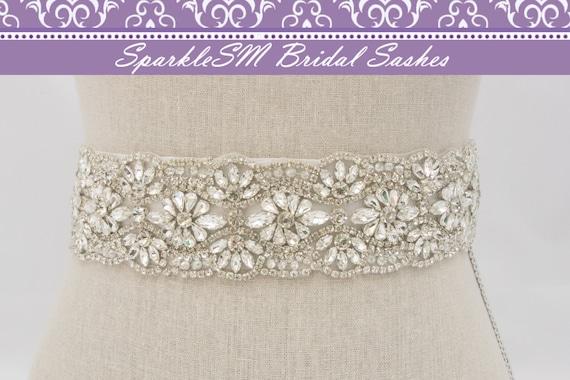Crystal Sash, Beaded Bridal Belt, Bridal Sash, Wedding Dress Sash, Rhinestone Sash, Statement Sash, Swarovski Sash, Crystal Sash, Rhinestone