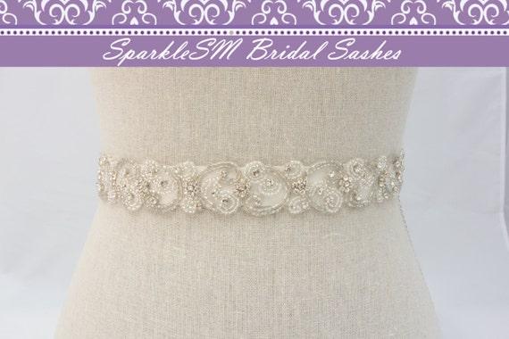 Rhinestone Sash, Crystal Wedding Belt, Jeweled Bridal Belt, Wedding Gown Sash, Prom Sash, Bridal Sash, Bridal Belt, Crystal Bridal Sash
