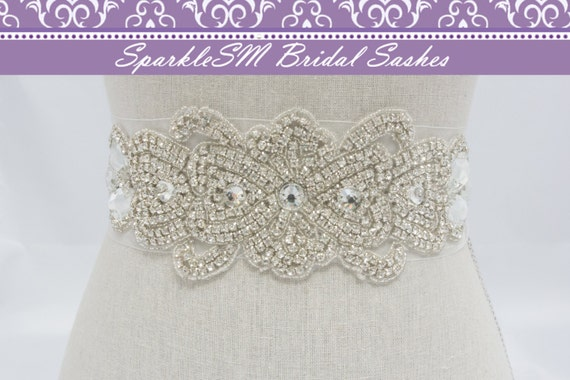 Wedding Sash, Bridal Belt, Bridal Sash, Satin Sash, Jeweled Sash, Crystal Dress Sash, Statement Sash, Rhinestone Belt, Wedding Dress Sash