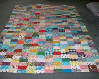 Vintage Patchwork/Rectangle Pattern Quilt- 68 X 86 Inches-Bedding-FREE SHIPPING