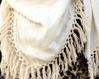 organic cotton double gauze with hand woven tassles ivory