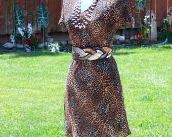 donna ricco leopard dress size 12