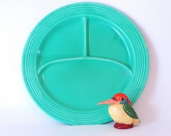 Vintage Feistaware Green 10 inch Divided Plate Collectable China Kitchenware Vintage Serving Green Feistaware Harliquin Riveriaware