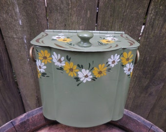 Vintage Floral Hinged Metal Box