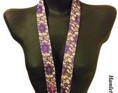 Purple Lace-Yellow Moiré Lanyard | Fabric Lanyard | Purple Lace on Moiré | Designer Lanyard by Hamlet Pericles