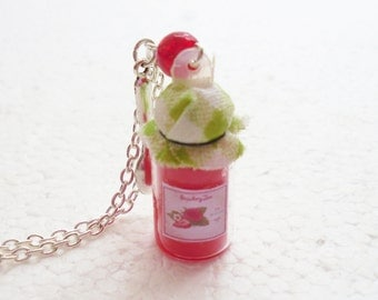 Jar of Strawberry Jam Pendant. Polymer Clay