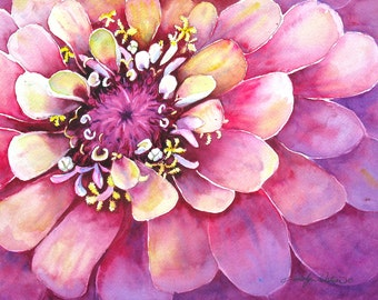 Watercolor Original Zinnia Flower Painting 10x14