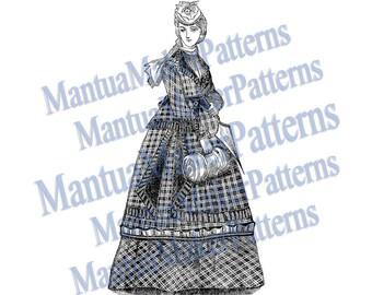 Victorian Dress Engraving, Instant Digital Download, 1871 #8