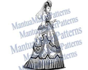 Victorian Dress Engraving, Instant Digital Download, 1871 #10