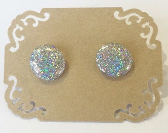 Hand Painted Silver GLITTER Stud Earrings