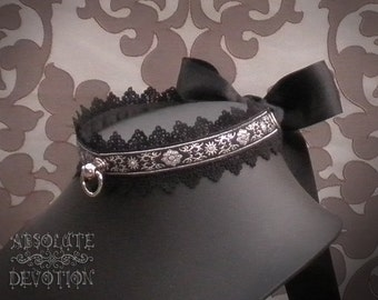 Shadow Collar in Silver and Black with Large Bow - Made To Order - Absolute Devotion