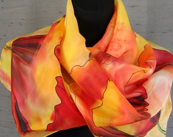 Orange, apricot flower scarf. Hand painted red poppies silk scarf. Summer silk scarf. Art scarf.
