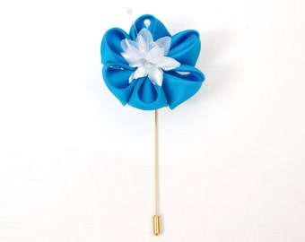 Lapel Pin - Custom Colour - Men's Wedding Boutonniere - Silk Flower Buttonhole - Kanzashi Flower Lapel Pin - Japanese Wedding