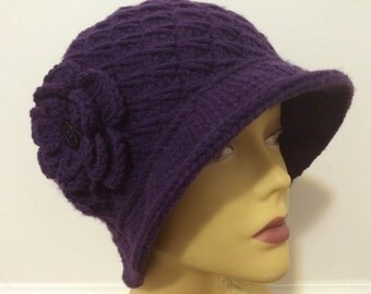 Chemo Women Cloche Hat, Crocheted Cloche Hat With Flower