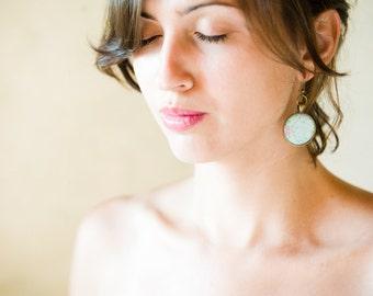 Flower Earrings - Mint Green Earrings - Art Jewelry - Green Earrings - Earrings - Big Earrings -  Mint Earrings (0-79E)