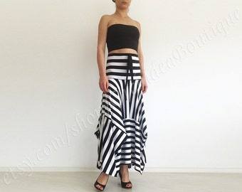 skirt Women's Clothing  Skirts  skirt  asymmetric  maxi orchidea  stripe  beach  midi  long  women  casual MARINE   Womens custom size