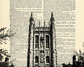 Missouri Memorial Union Building University of Mizzou Printed on Upcycled Vintage Dictionary Paper - 7.75x11