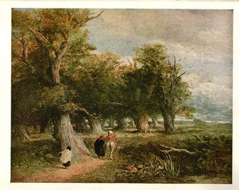 Antique Lithograph Print - - The Skirt of the Forest by Cox - 69