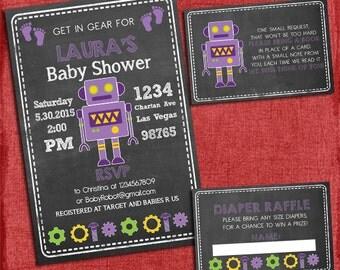 Printable Robot Baby Girl Shower Invitation Set: Invite + Diaper Raffle Ticket + Book Request  - Chalkboard Style - I design you print