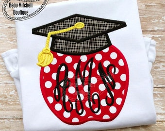 Graduation Apple Monogram Applique Shirt - Girl's or Boy's shirt - Graduation Shirt