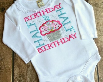 Girl's Half Birthday - Onesie or Shirt - Custom Fabric colors available - #1-8 (Boys Colors also available)