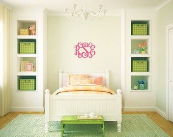 """Interlocking Wooden Monogram - 3 initials - PAINTED WOOD - 14"""" and 18"""" available"""