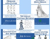 Best Selling Collection of 5 x RARE Victorian COSTUME PATTERN Books ~ Lessons Patterns and Designs to print out and use Instant Download