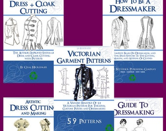New Collection of 5 x RARE Victorian GARMENT PATTERN Books ~ Lessons Patterns and Designs to print out and use Instant Download