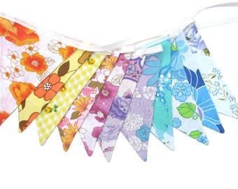 Vintage  Bunting - Retro Pretty Multi-Colour Rainbow Floral Flags. Bedroom Decoration, Birthday Parties, Garden Party, Engagement, Wedding
