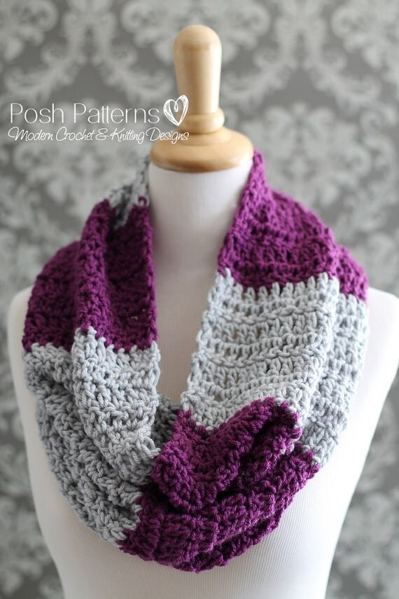 Crochet Pattern For Cowl Scarf : Crochet PATTERN Infinity Scarf Pattern Easy Striped Cowl