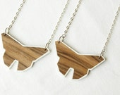 Origami Necklace Buttterfly Necklace Wooden Necklace Minimalist Necklace