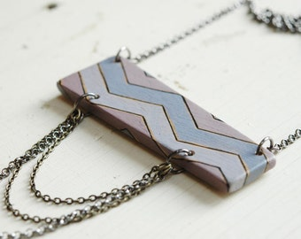 Chevron necklace,wood necklace