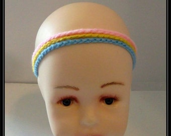 Crocheted 3 Strand chain Pink, Yellow and Blue Headband! Ready to Ship!