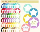 ON SALE Digital Label, circle frames clip art, 50 colors scrapbooking label.L-16 ,star circle tag clip art,instant download lable clip art