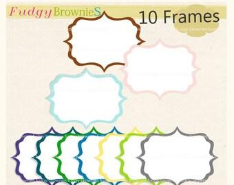 ON SALE Digital frame, square frames clipart, white background frame, digital scrapbooking frames.A-44 , Instant Download