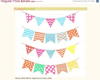 ON SALE bunting clip art,Digital bunting, flag banners scrapbooking bunting,birthday,Flags banner , Instant Download