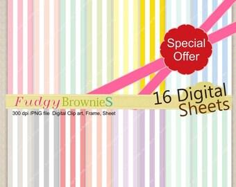 ON SALE Stripe Digital Paper backgrounds, scrapbook paper , card, 16 digital sheets, No.179 , pink , green , blue ,  Instant download