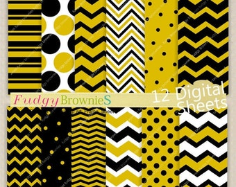 ON SALE digital paper backgrounds 7.5x11, gold and black digital paper , chevron design ,No.172 , gold chevron , Instant download