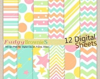 """ON SALE Digital paper background 8.5x12"""" , printable digital paper ,No.248, pink, blue, orange, girls color paper pack"""