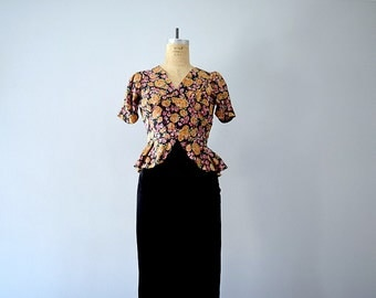 1930s vintage gown . 30s silk velvet and floral dress