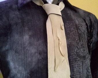 Mens Neckties   Cream Tie   Wedding Necktie   Cool Ties   Unique Mens Ties   Groomsmen Ties   Mens Leather Tie   Leather Necktie
