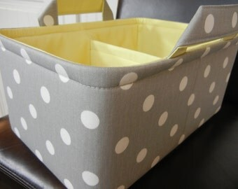 "LG Long Diaper Caddy 8"" x 12"" x 6""(choose COLORS)""One Divider -Baby Gift-Fabric Storage Organizer-""White Polka Dot on Grey"""