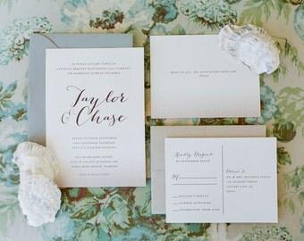 Wedding Invitation Printable, Calligraphy Wedding Invitation, DIY Wedding Invitation, Beach Wedding, Wedding Invitation Download - #S1