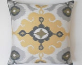 Yellow and gray suzani medallion pillow cover, yellow morrocan ikat decorative pillow cover