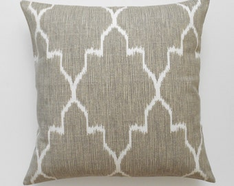 Modern grey moroccan ikat decorative pillow cover, accent pillow, throw pillow