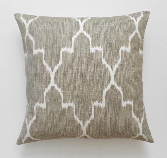 Modern grey moroccan ikat decorative pillow cover, accent pillow, throw pillow