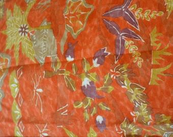 Vintage Japanese crepe silk kimono fabric (92cm x 36cm) retro forest chirimen