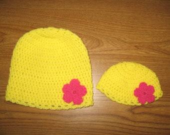 """Bright Yellow with Bright Pink flowers Matching Crocheted Hats for 18"""" American Girl Dolls - also fits Bitty Baby -  and Girls"""