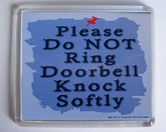 Doorbell Sign Do Not Ring Knock Softly WordsyWays on Etsy